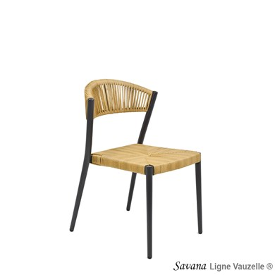 Chaise SAVANA, Tressage Rond Imitation col. Paille.