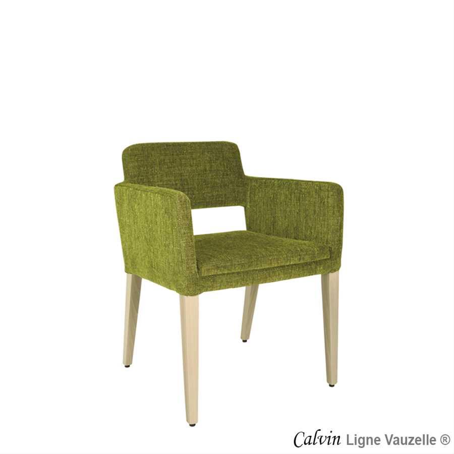 Fauteuil calvin pieds bois ligne vauzelle for Chaise de calvin
