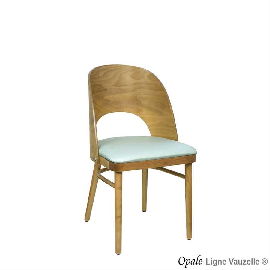 Chaise opale galette et dos bois avec renforts ligne vauzelle - Galette de chaise avec dossier ...