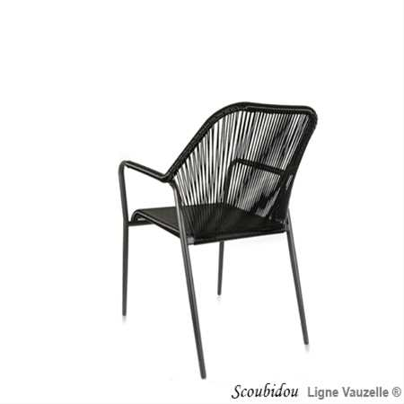 fauteuil scoubidou noir structure noire ligne vauzelle. Black Bedroom Furniture Sets. Home Design Ideas