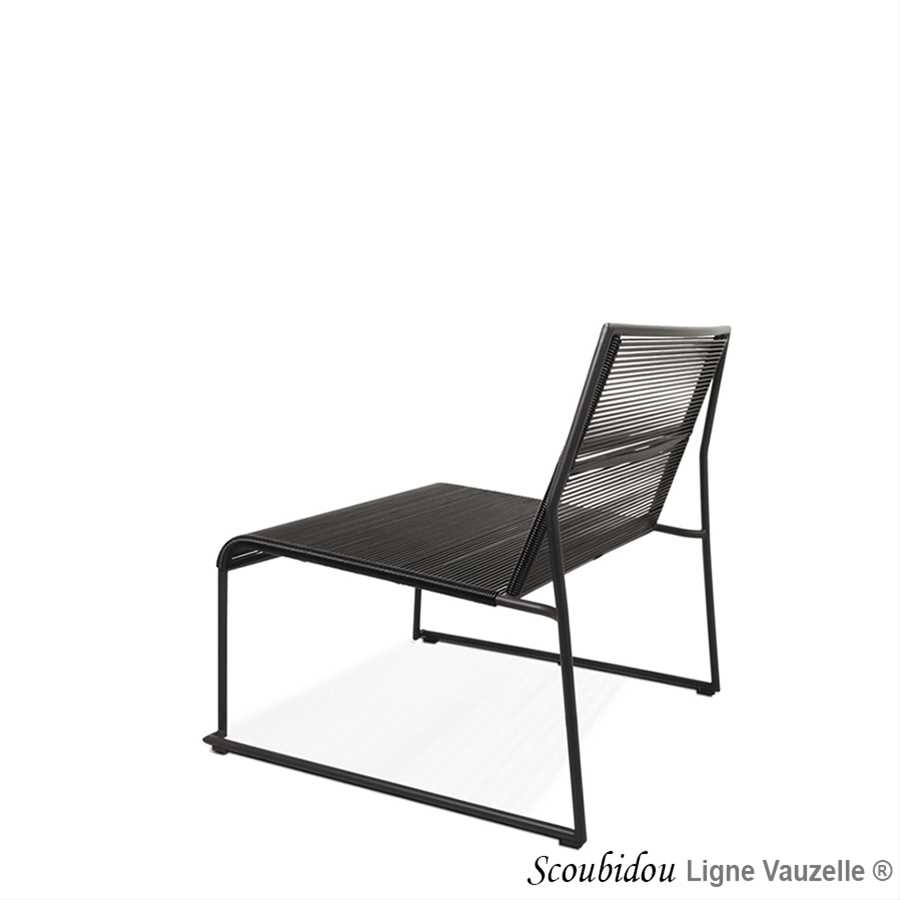 chaise lounge scoubidou noir structure noire ligne. Black Bedroom Furniture Sets. Home Design Ideas